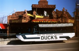 The Original Wisconsin Ducks. It's doing that weird shutter-curtain lag again. Who cares? This is the Original Wisconsin Ducks WWII amphibian vehicle. Calm yourselves, we will ride it later.